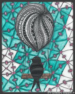 Zendoodle, montgolfière, oiseau, zentangle