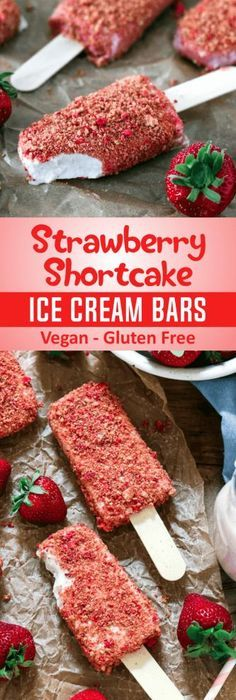 Strawberry Shortcake Ice Cream Bars (Vegan + GF)