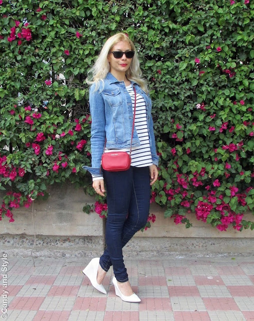 DenimJacket+StripedShirt+SkinnyJeans+WhiteWedges+MiniBag+Shades+RedLips - Lilli Candy and Style Fashion Blog