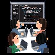 チームでプログラミングをしているイラスト