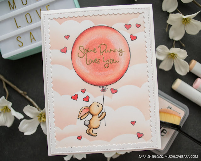 """This adorable card features the Avery Elle stamp set """"Some Bunny"""" along with My Favorite Things Cloud Stencil, and Stitched Rectangle Scallop Frame.  The image was colored with Copic markers and Prismacolor pencils."""
