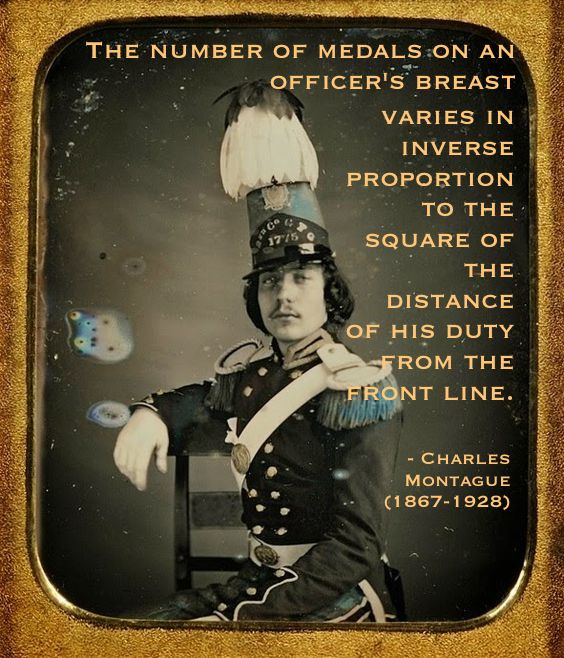 Daguerreotype portrait hand colored c.1850s. American militia officer in uniform, plumed hat and large epaulets. Quote by Charles Montague officers' medals and the front line. Armchair General and other stories of The Better Defense. marchmatron.com