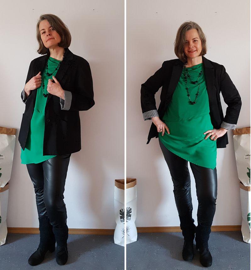 Schwarze Lederleggings, Transparenz, Blazer und Pantone-Seaside-Colours.