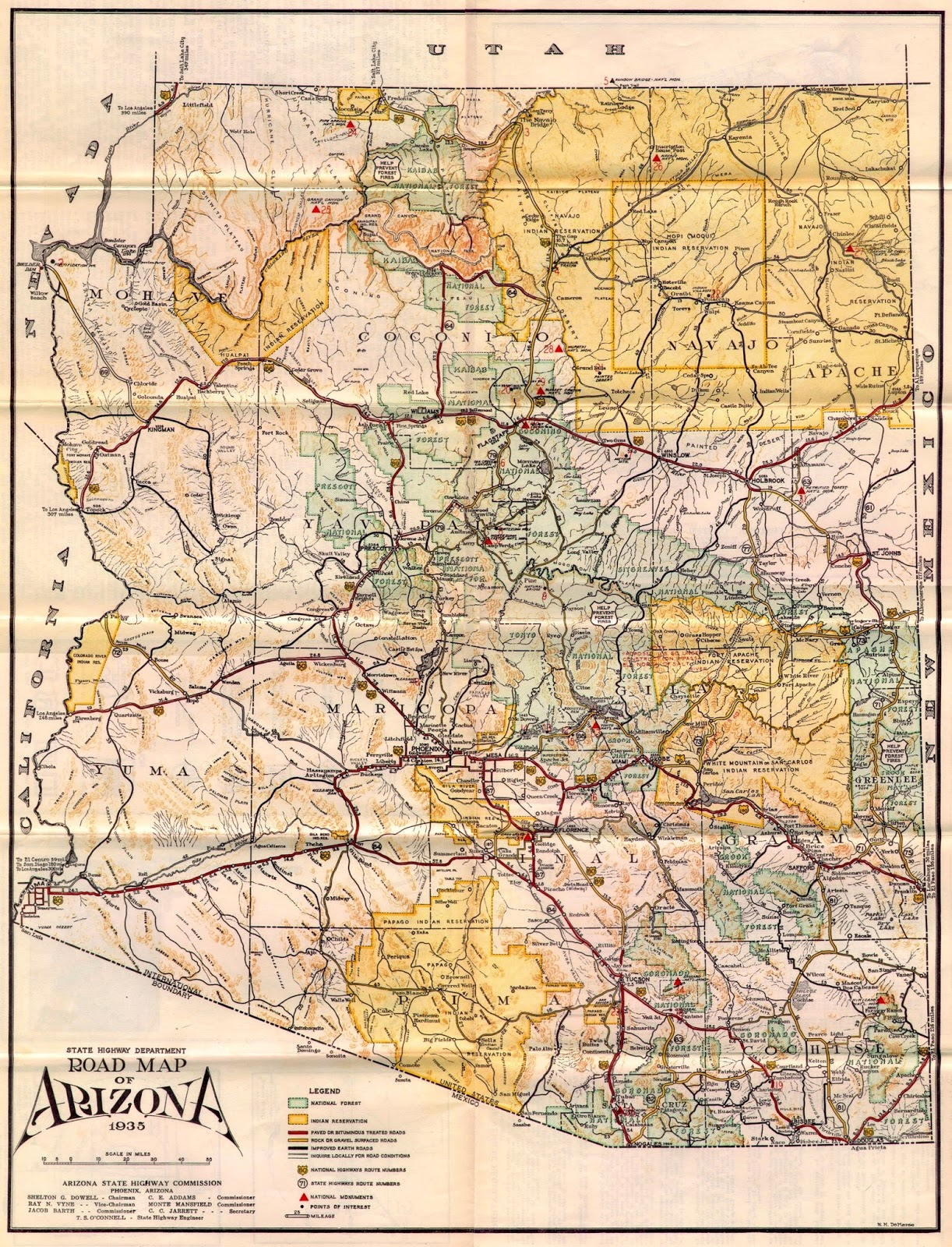 Team US 89 1935 Arizona Highway Map