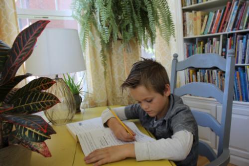 Boy and school workbook