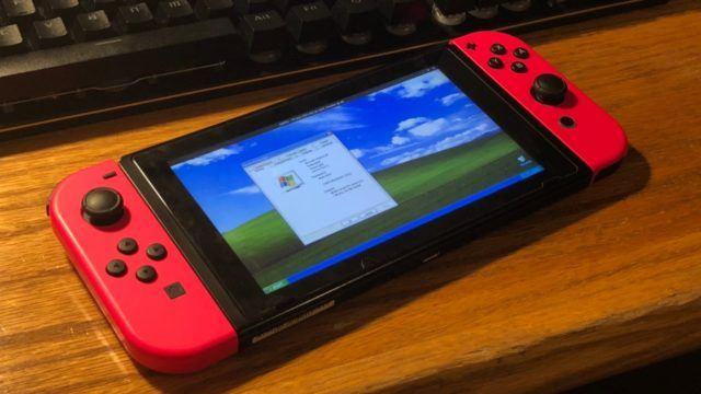 Windows XP iniciado com sucesso no Nintendo switch