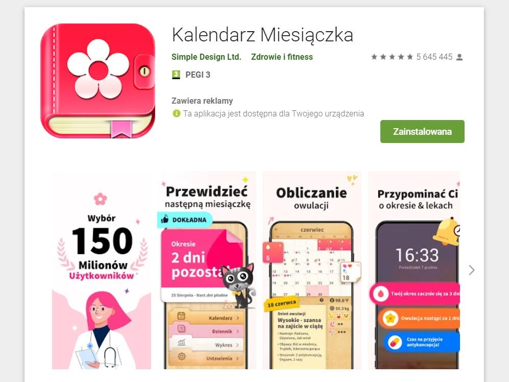 kalendarzyk miesiączkowy najlepsza aplikacja