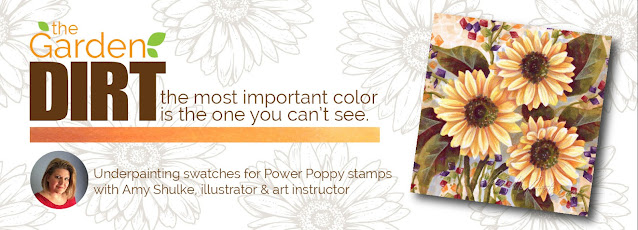 Add realism to Copic Marker blends by underpainting with complementary or opposite colors. Power Poppy's guest author Amy Shulke from VanillaArts.com offers fresh perspectives on blending combinations. Purple neutralizes vibrant Y markers, perfect for shading sunflower petals. | VanillaArts.com | copicmarker realisticcoloring underpainting