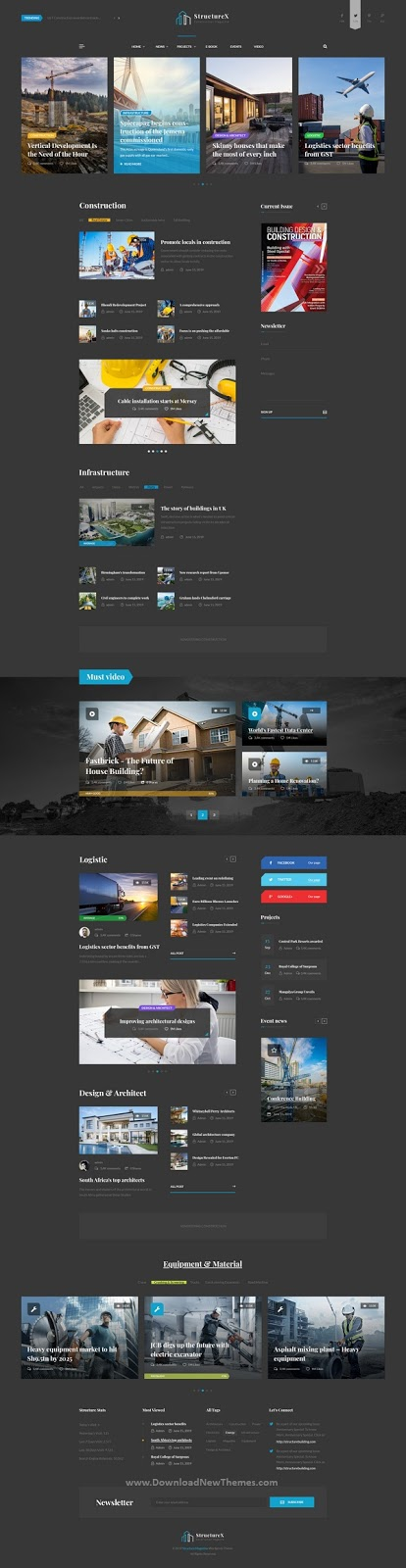 Minimal Construction Magazine PSD Template