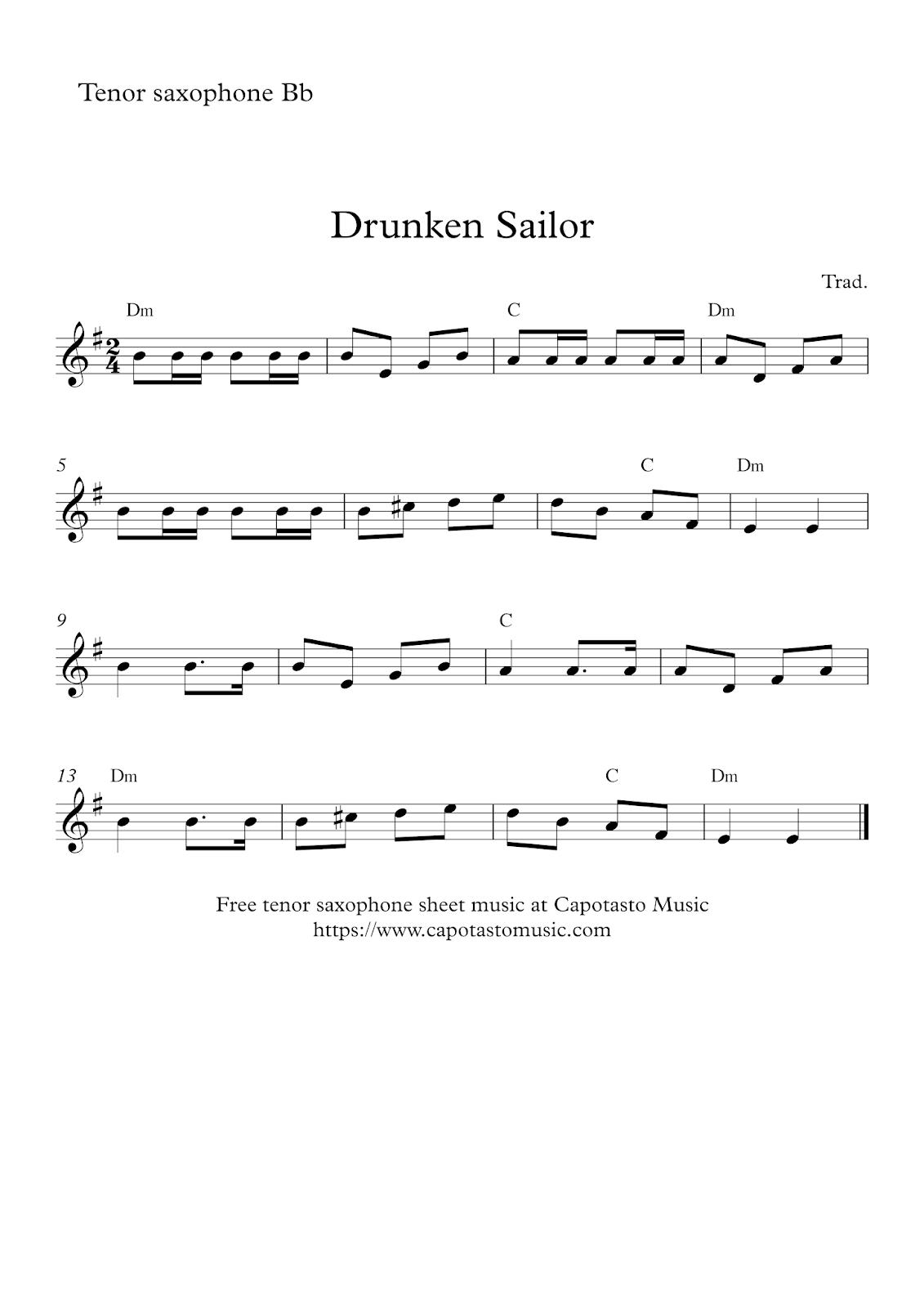 Free printable tenor sax sheet music | Drunken Sailor