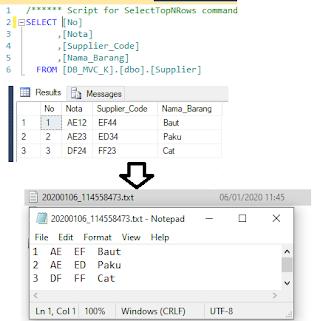Buat File Txt Data Tabel SQLServer
