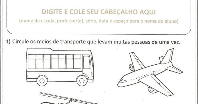 Atividades Prontas Meios De Transporte