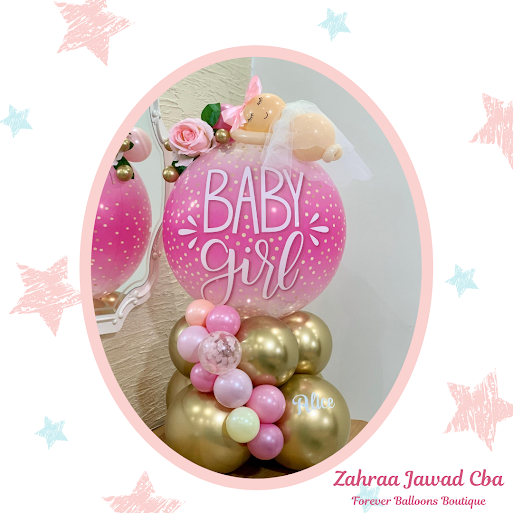 Beautiful Baby Girl Design by Zahraa Jawad of Forever Balloons Boutique in Beirut, Lebanon.