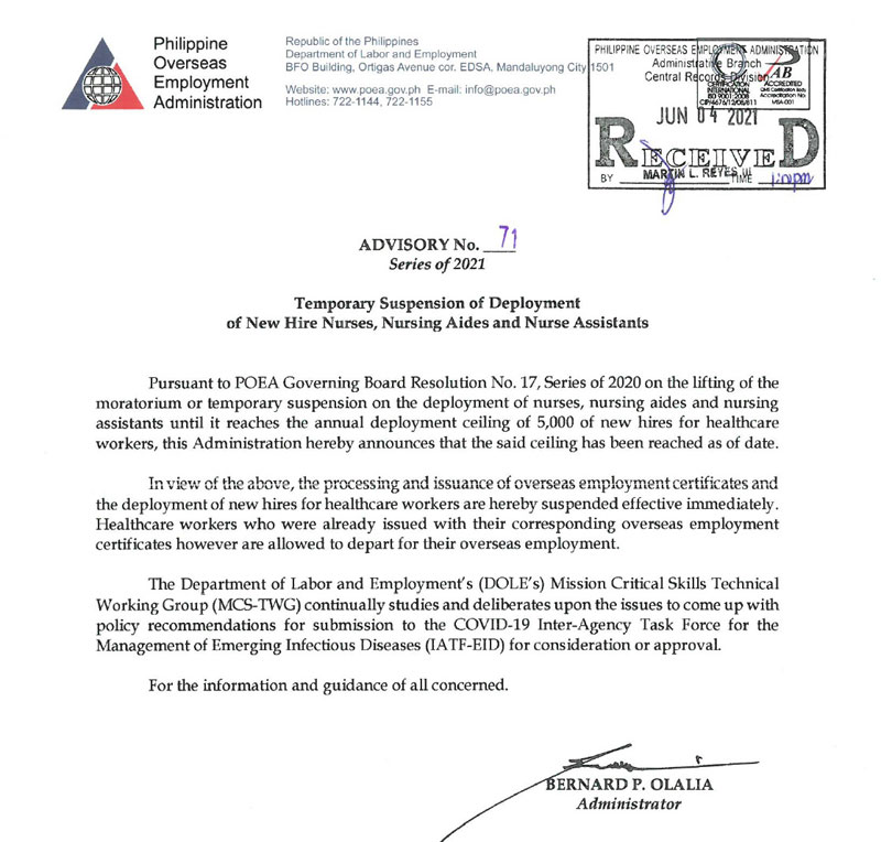 POEA Advisory 71 on suspension of overseas deployment of nurses.