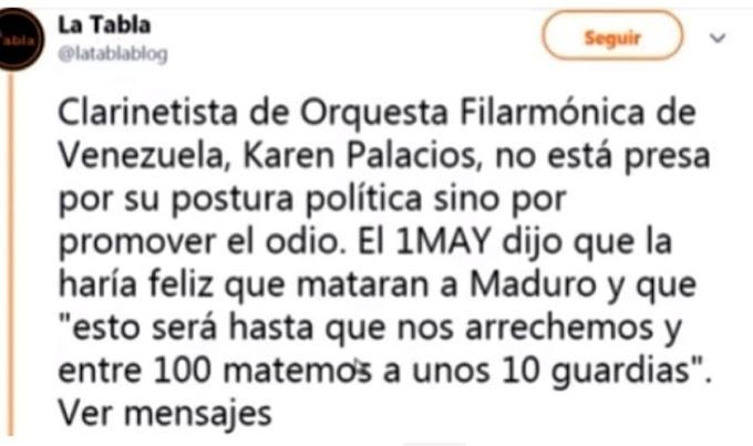 El caso de la clarenitista Venezolana Karen Palacios