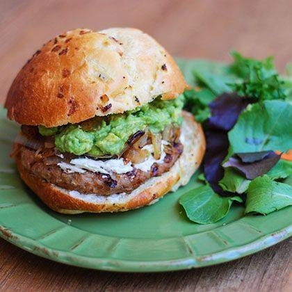 Avocado and Onion Turkey Burger