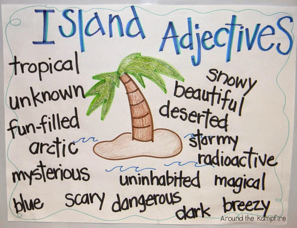 Landforms creative writing project~Adjectives anchor chart