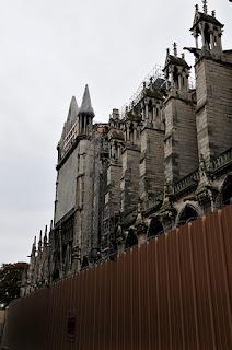 Notre Dame in Paris inside hoarding
