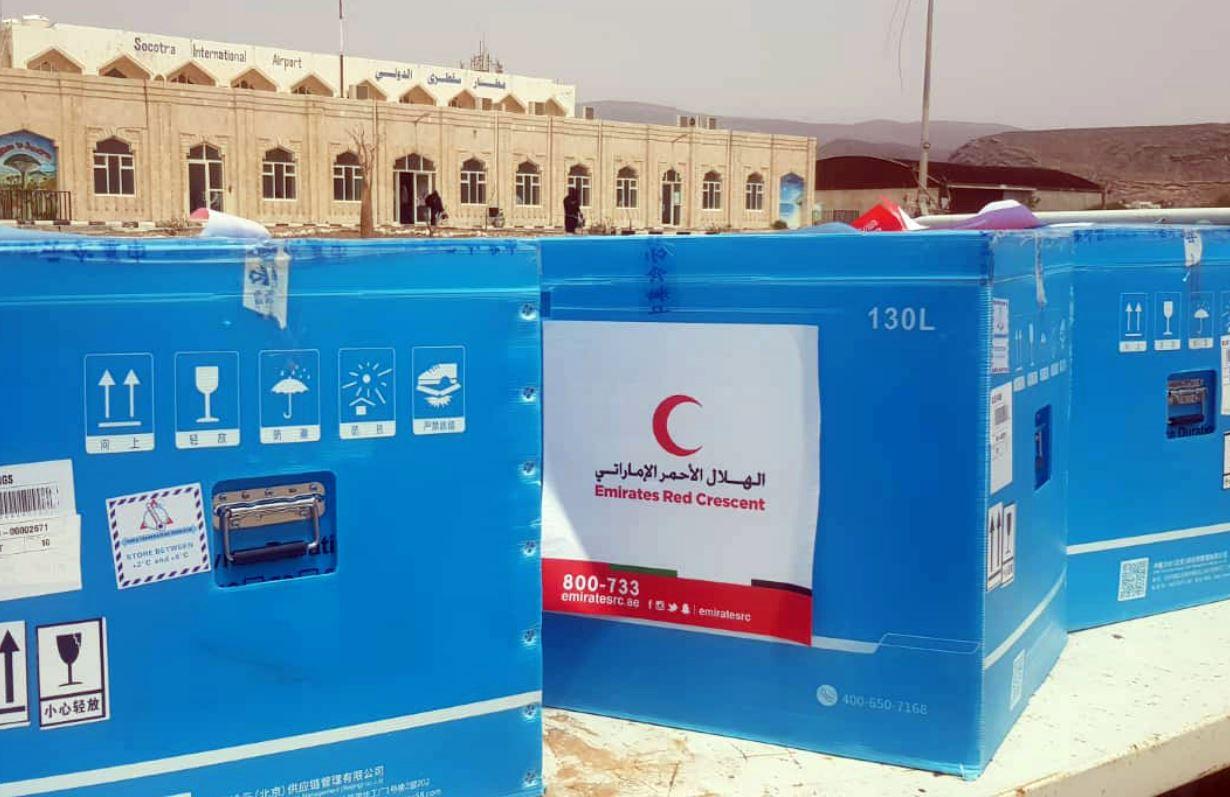 هيئة الهلال الأحمر الإماراتي ترسل 60 ألف جرعة من لقاحات كورونا إلى سقطرى
