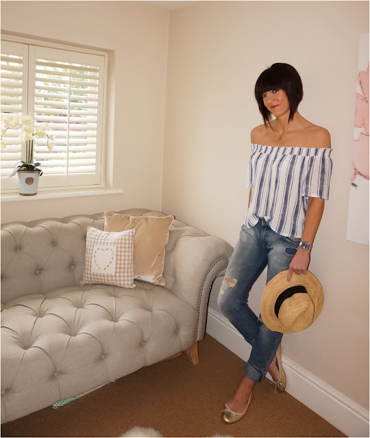 My Midlife Fashion, Harry Rocks Entwined Initials Pendant, zara stripe bardot top, distressed turned up boyfriend jeans, cocobay seafolly straw fedora, massimo dutti gold metallic ballet pumps