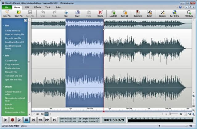 تحميل اسهل برنامج لتحرير الصوت WavePad Audio Editor للكمبيوتر