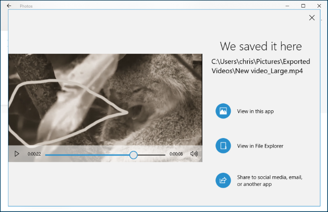 يوضح تطبيق الصور مكان حفظ الفيديو المُصدَّر.