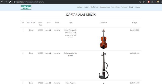 Prorgram Sistem Informasi Rental - Tampilan Alat Musik