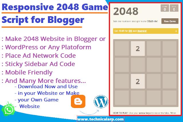 Responsive 2048 Game Script Blogger  Make 2048 Game Website