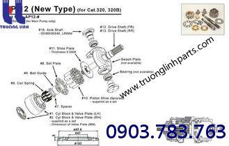 Cấu tạo của bộ ruột bơm AP12 Rexroth- Uchida cho xe đào E200B CAT320