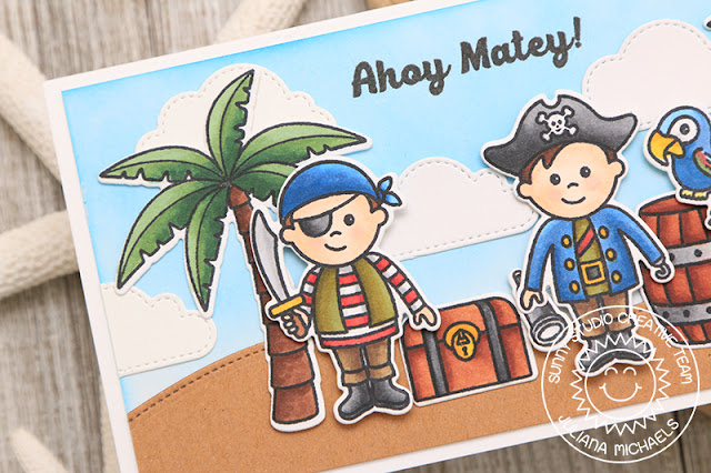 Sunny Studio Stamps: Seasonal Trees Sending Sunshine Coastal Cuties Pirate Pals Cards by Angelica Conrad and Juliana Michaels
