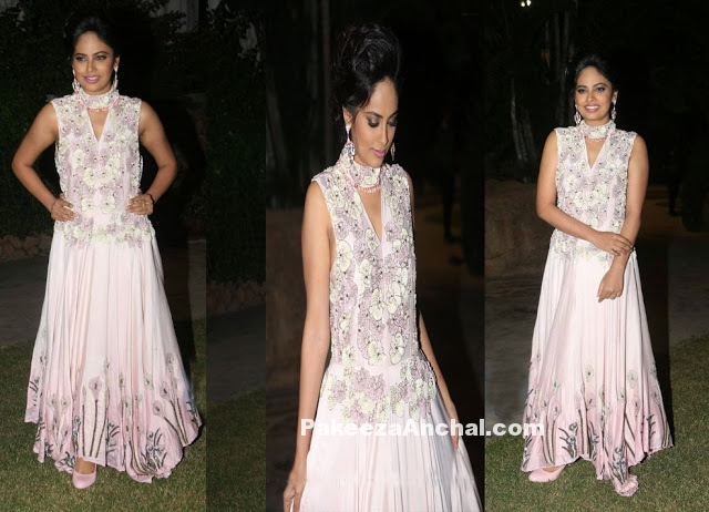 Nandita Sweta in Sleeveless Floral Embroidery Gown