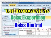 Uji Homogenitas Data Kelas Eksperimen dan Kontrol dengan SPSS Lengkap