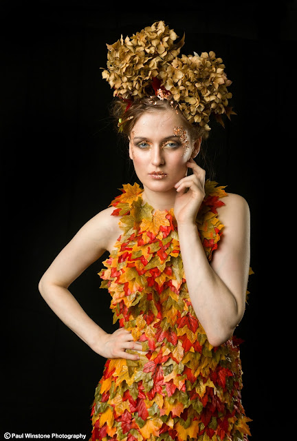 modelling, Leaf Dress, Leaves, Mystic Magic, Autumn, autumnal, Autumn fairy, Forest Sprite, forest, styling, couture dress, fashion, studio photography, creative photos, inspiration, high fashion, couture fashion,