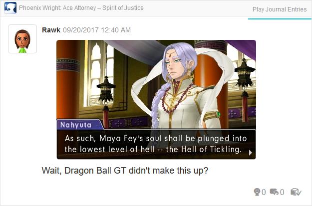 Phoenix Wright Ace Attorney Spirit of Justice Maya Fey Hell of Tickling
