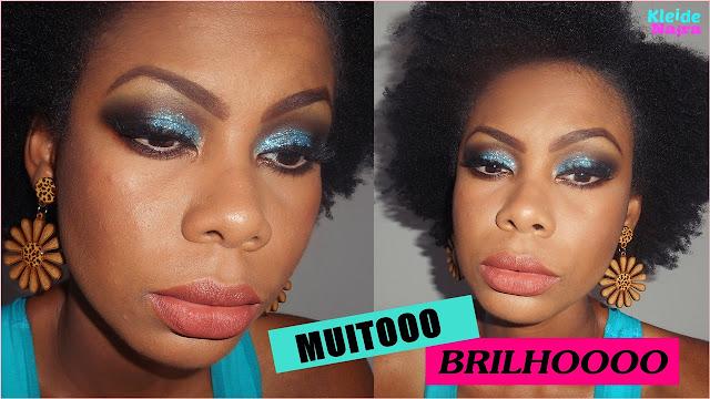 maquiagem com glitter azul