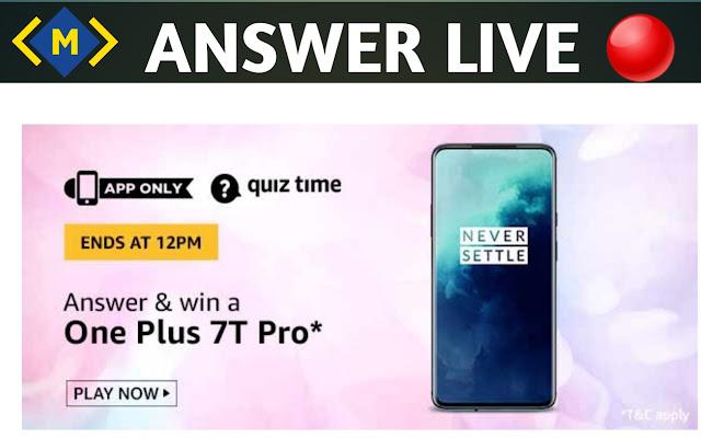Amazon Quiz Contest 3 June 2020 -Win OnePlus 7T pro By Money Quiz