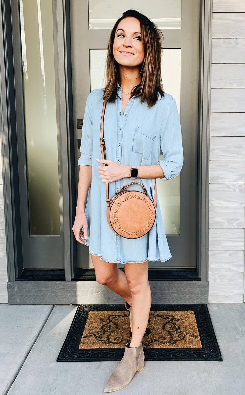 incredible spring outfit / round bag + denim dress + boots