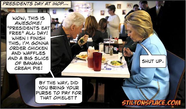 stilton's place, stilton, political, humor, conservative, cartoons, jokes, hope n' change, Clinton, presidents day