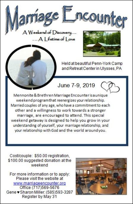5-31 Registration Deadline for Marriage Encounter