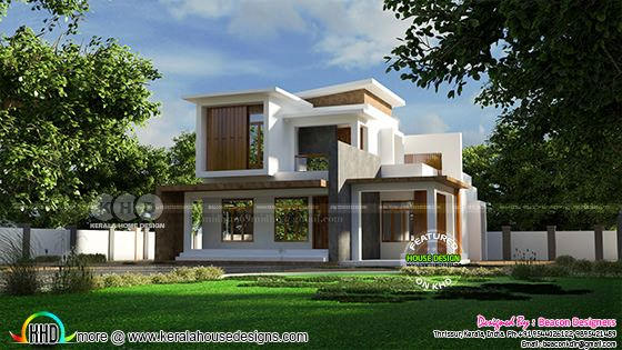 Box model flat roof style house architecture