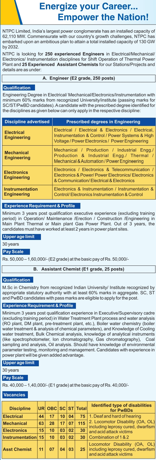 NTPC is looking for 250 experienced Engineers in Electrical/Mechanical/ Electronics/ Instrumentation disciplines for Shift Operation of Thermal Power Plant and 25 Experienced Assistant Chemists for our Stations/Projects,ntpc vacancy 2020  ntpc recruitment 2019  ntpc vacancy iti  rrb ntpc  www.ntpc.co.in recruitment 2019  chausa ntpc vacancy  ntpc jobs for freshers  ntpc recruitment 2019 for engineers  ntpc recruitment 2019 diploma  ntpc job iti  ntpc mouda vacancy  ntpc full form,