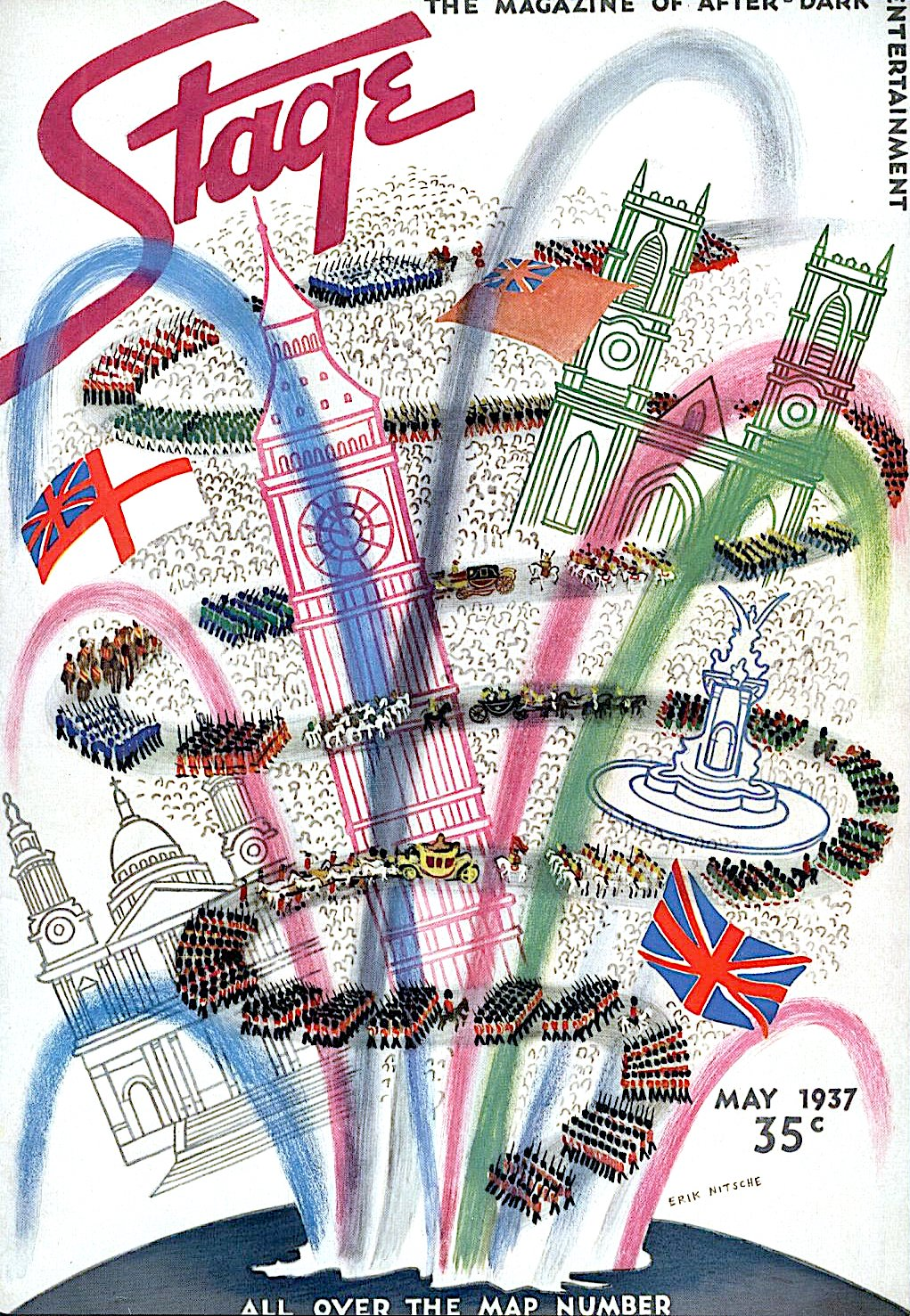 Erik Nitsche 1937 illustration for Stage Magazine, a giant procession