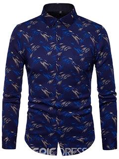 Lapel Simple Style Print Men's Shirt