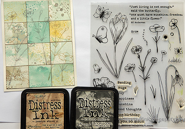 Layers of ink - Distress Ink Blocks Card Tutorial by Anna-Karin Evaldsson. Stamp with Thoughtful Flowers.