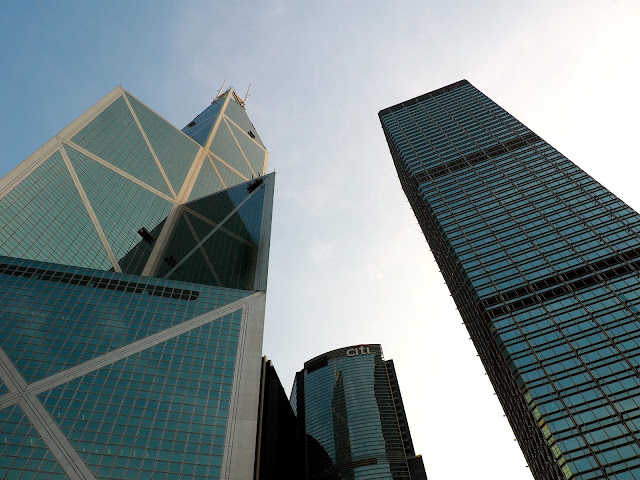 Skyscrapers, including Bank of China, in Central, Hong Kong