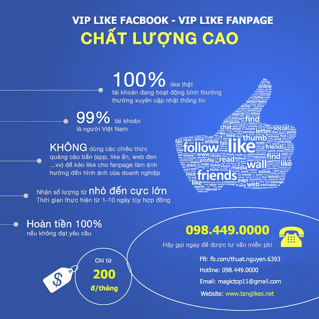 tăng like bài viết fanpage - profile facebook giá rẻ