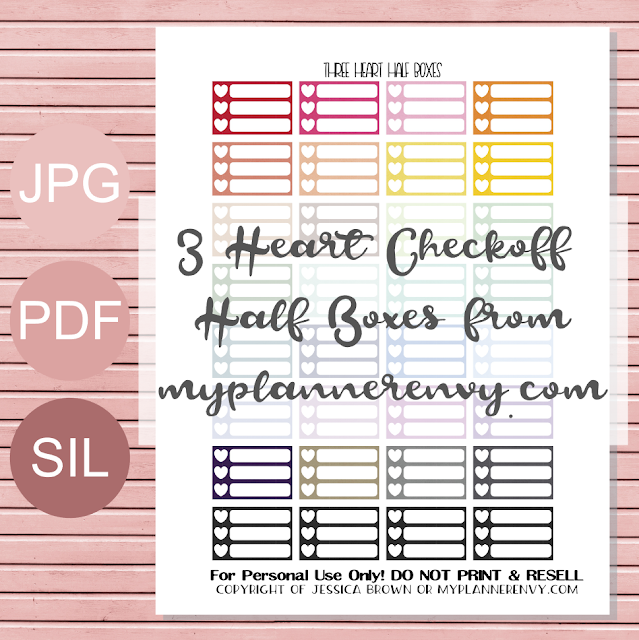 Free Printable 3 Heart Checkoff Half Boxes from myplannerenvy.com
