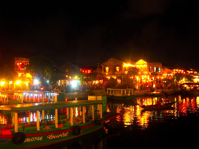 Hoi An river front lit up at night, Vietnam