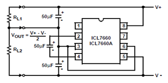ICL7660/ICL7660A Voltage Splitting Circuit Diagram