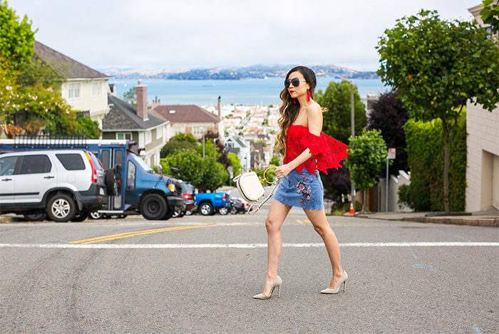 ASTR THE LABEL Adela Off the Shoulder Lace Top, red off shoulder lace top, topshop floral denim skirt, chloe nile bag, quay sunglasses, schutz pumps, baublebar earrings, july4th outfit ideas, 4th of july outfit ideas, san francisco fashion blog, san francisco street style